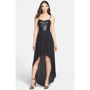 'Leandra' Faux Leather & Georgette High/Low Maxi